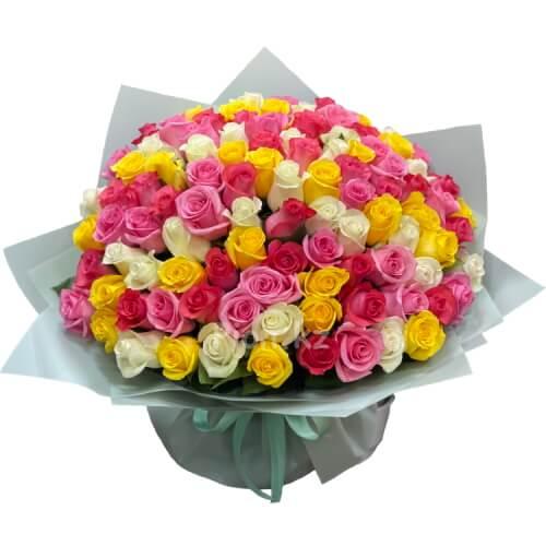Разноцветные розы (101 роза)