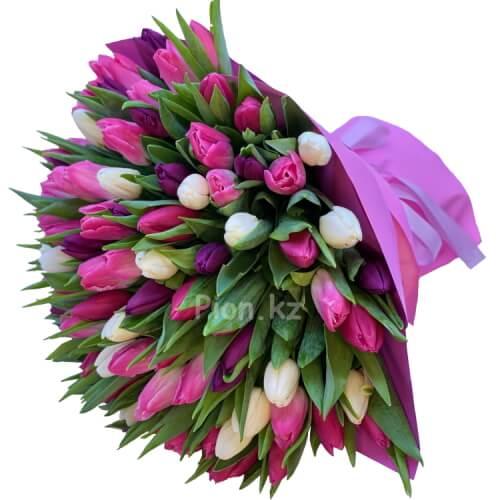 Разноцветные тюльпаны (101 шт.)